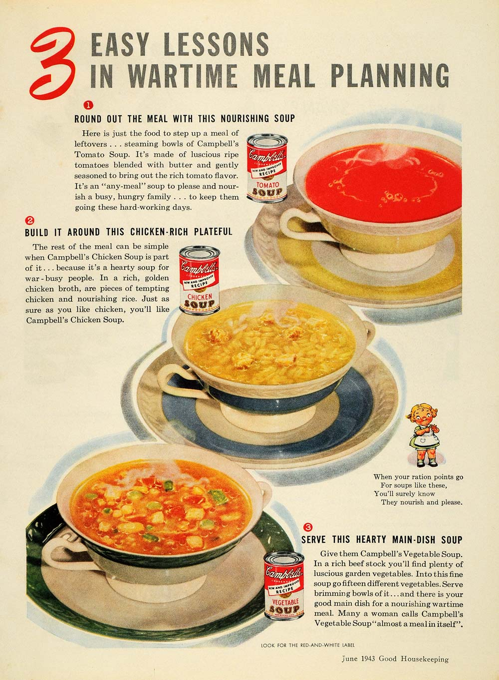 1943 Ad Campbells Soup Tomato Chicken Vegetable Wartime - ORIGINAL GH4