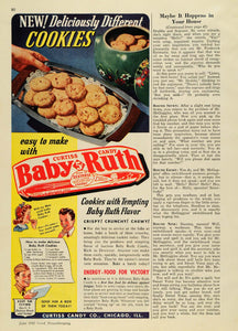 1942 Ad Curtiss Candy Baby Ruth Cookies Recipe Energy - ORIGINAL ADVERTISING GH4