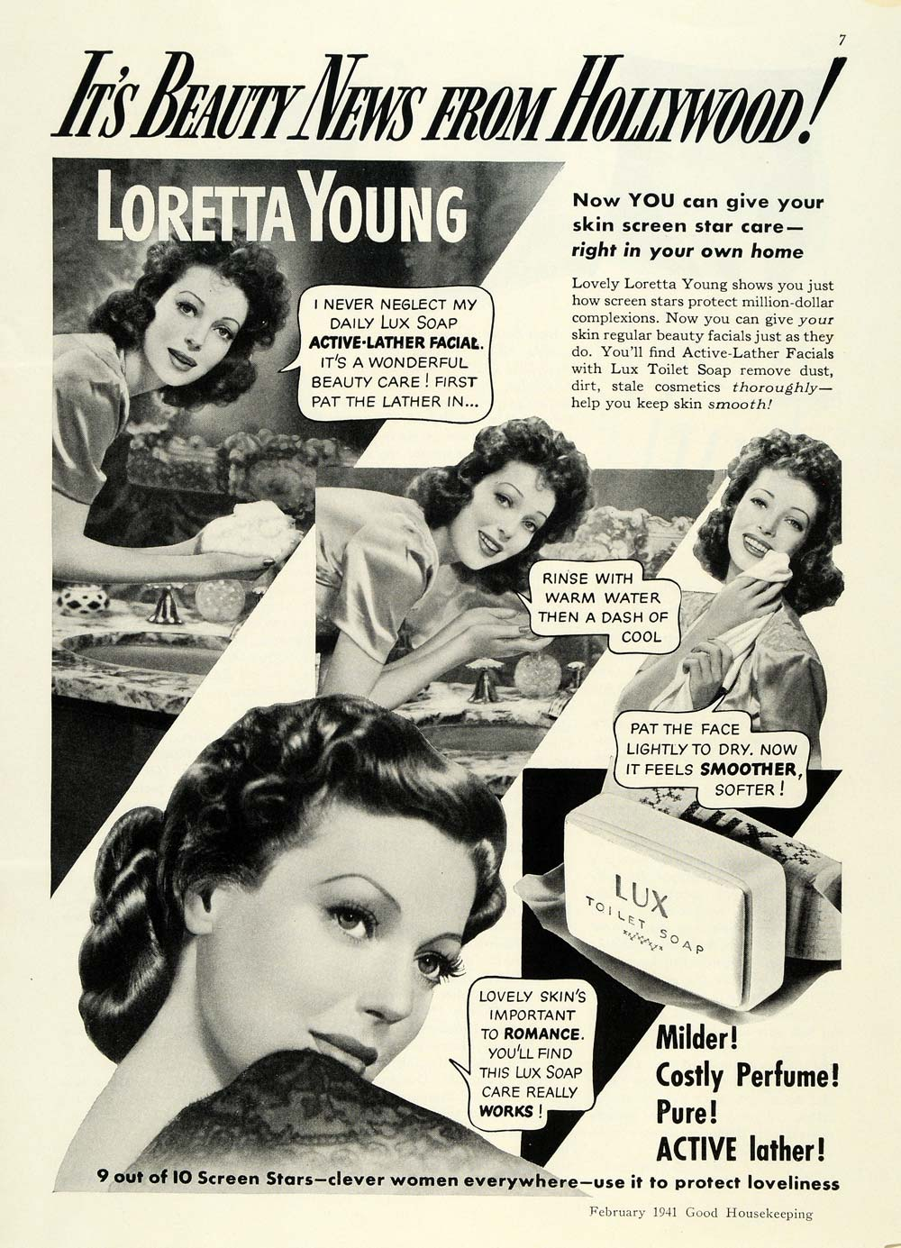 1941 Ad Loretta Young Lux Soap Bar Active Lather Facial - ORIGINAL GH4