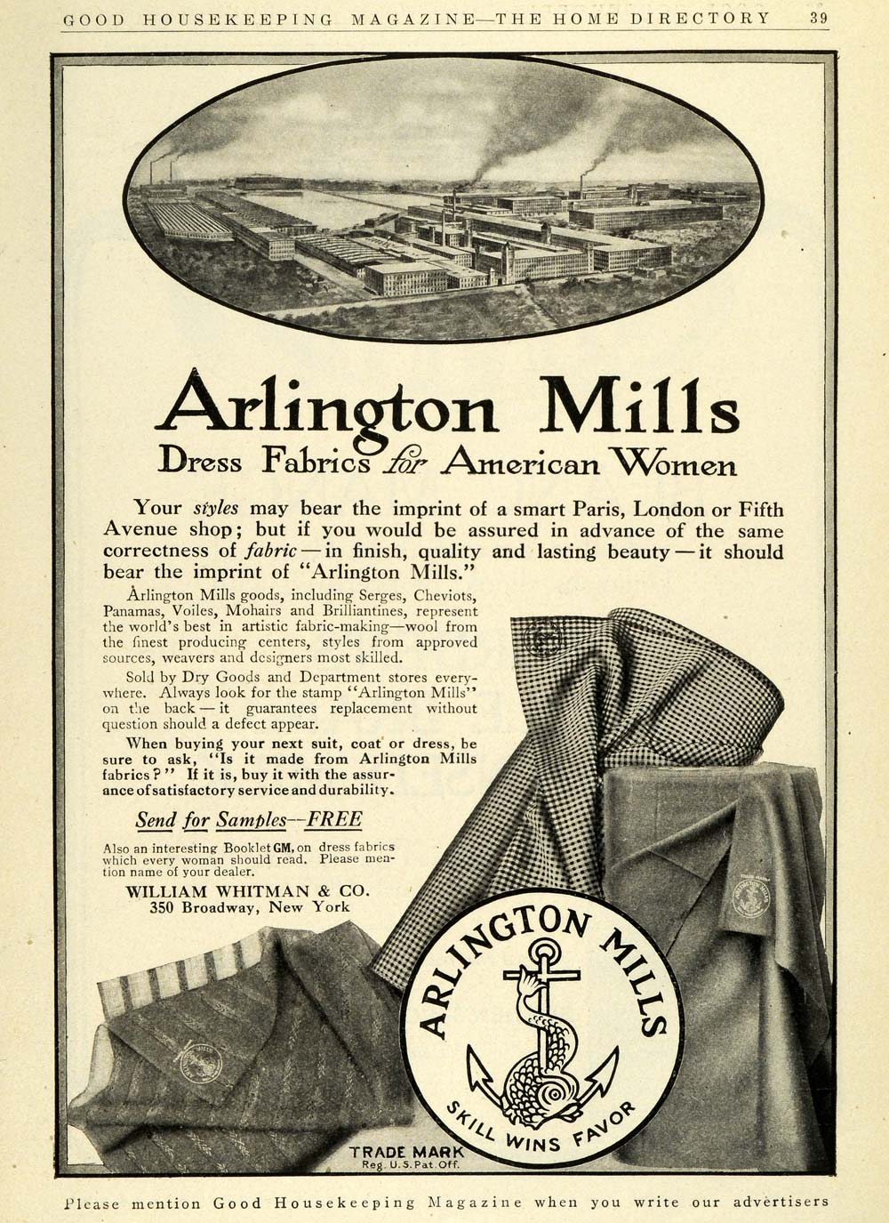 1911 Ad Arlington Mills Factory Womens Dress Fabrics William Whitman GH4