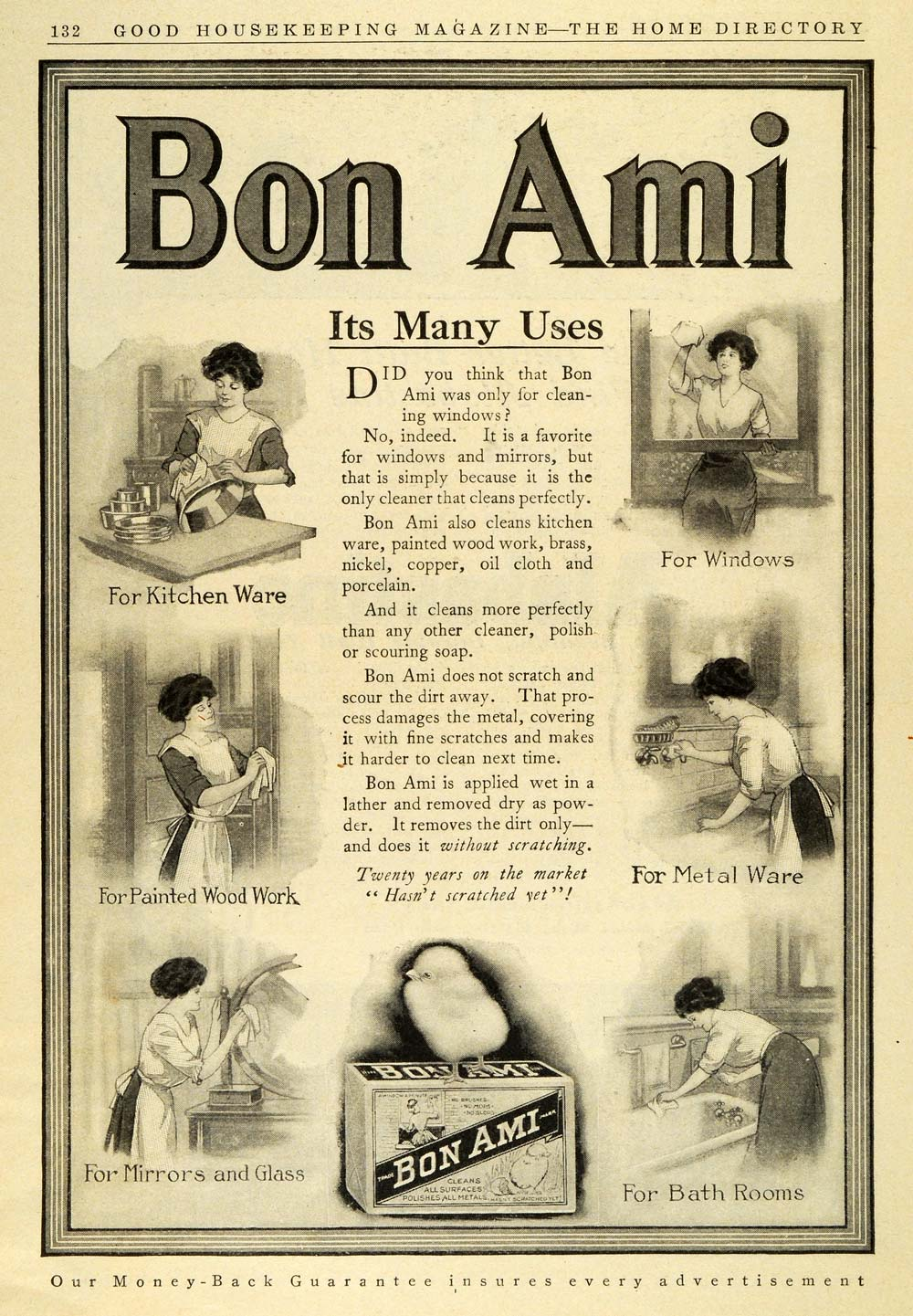 1911 Ad Bon Ami Soap Polish Uses Household Cleaning Products Housewife GH4