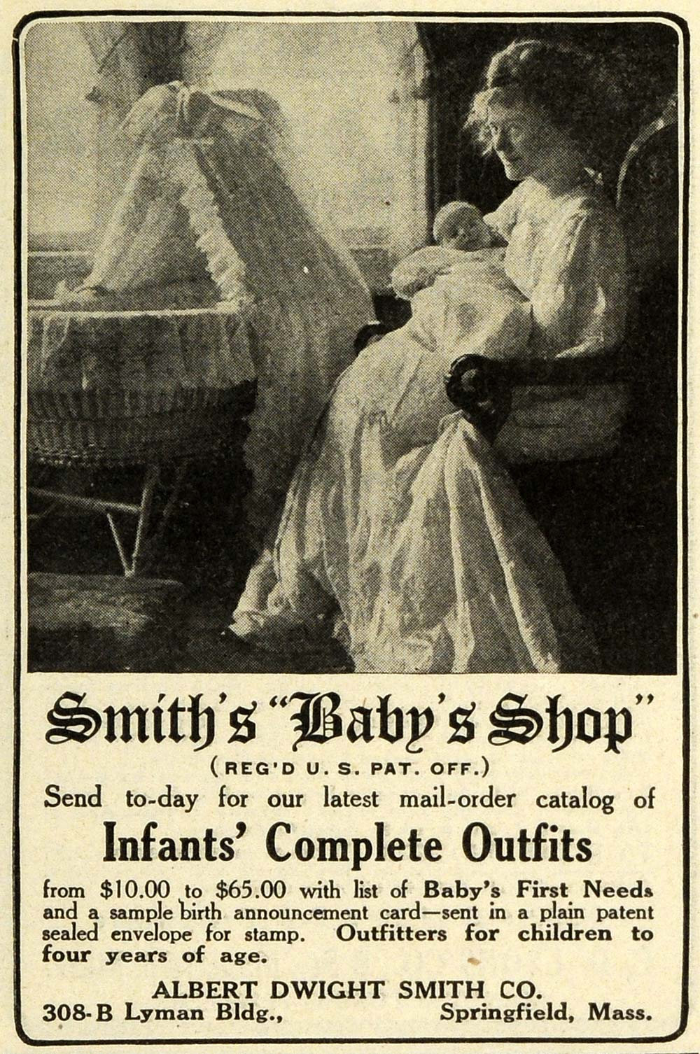 1911 Ad Albert Dwight Smith Baby Shop Products Crib Springfield GH4
