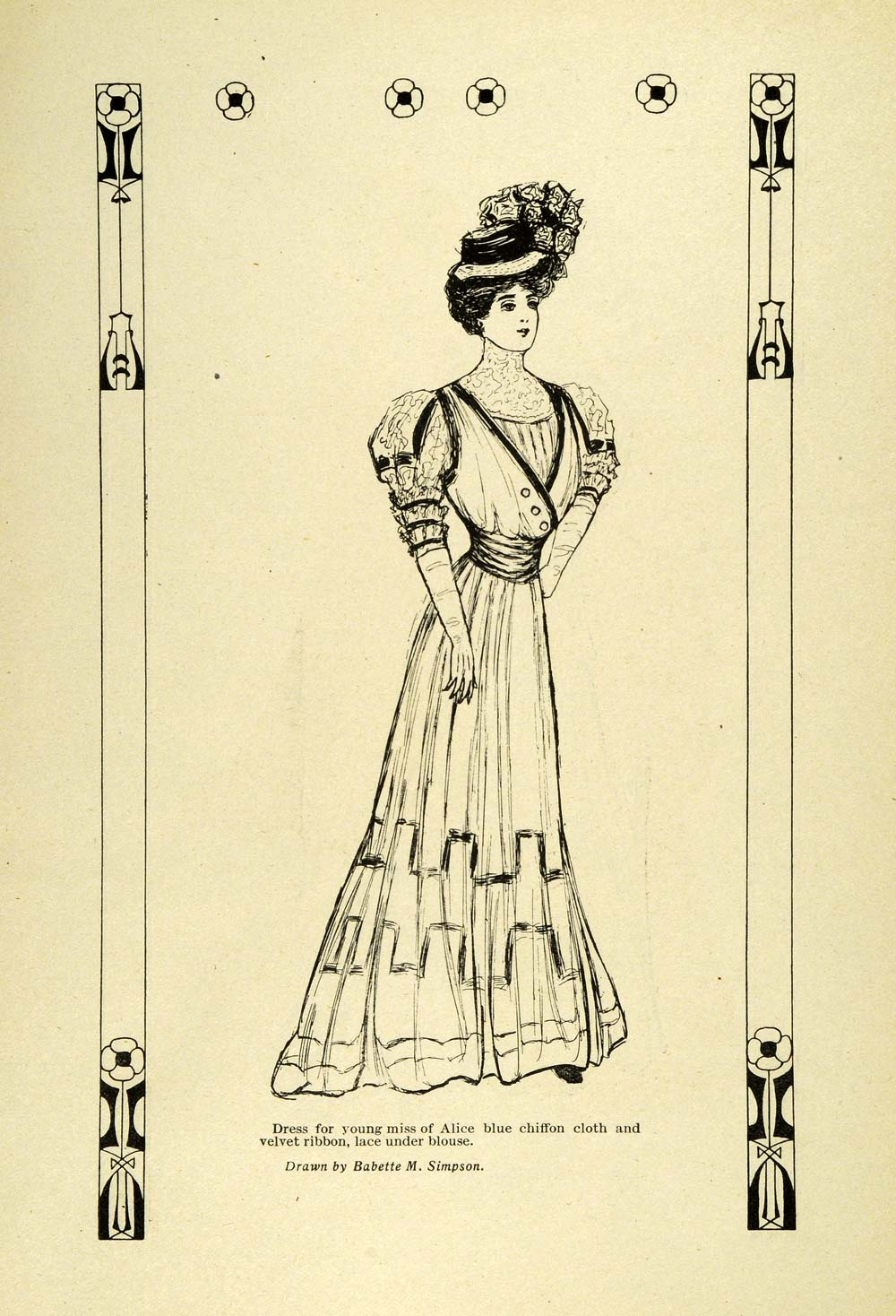 1907 Print Edwardian Fashion Women Dresses Gowns Hats Blanche Letcher B GH4