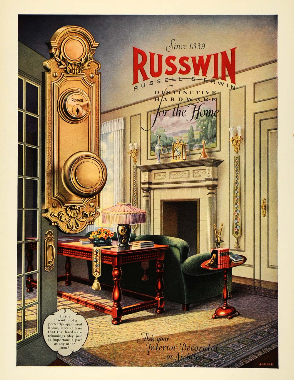 1927 Ad Russwin Hardware Door Knob Interior Decor Hare - ORIGINAL GHB1