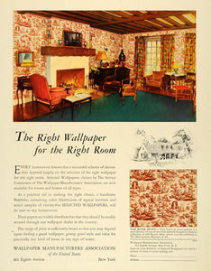 1928 Ad Wallpaper Mfg Association French Fabric Prints - ORIGINAL GHB1