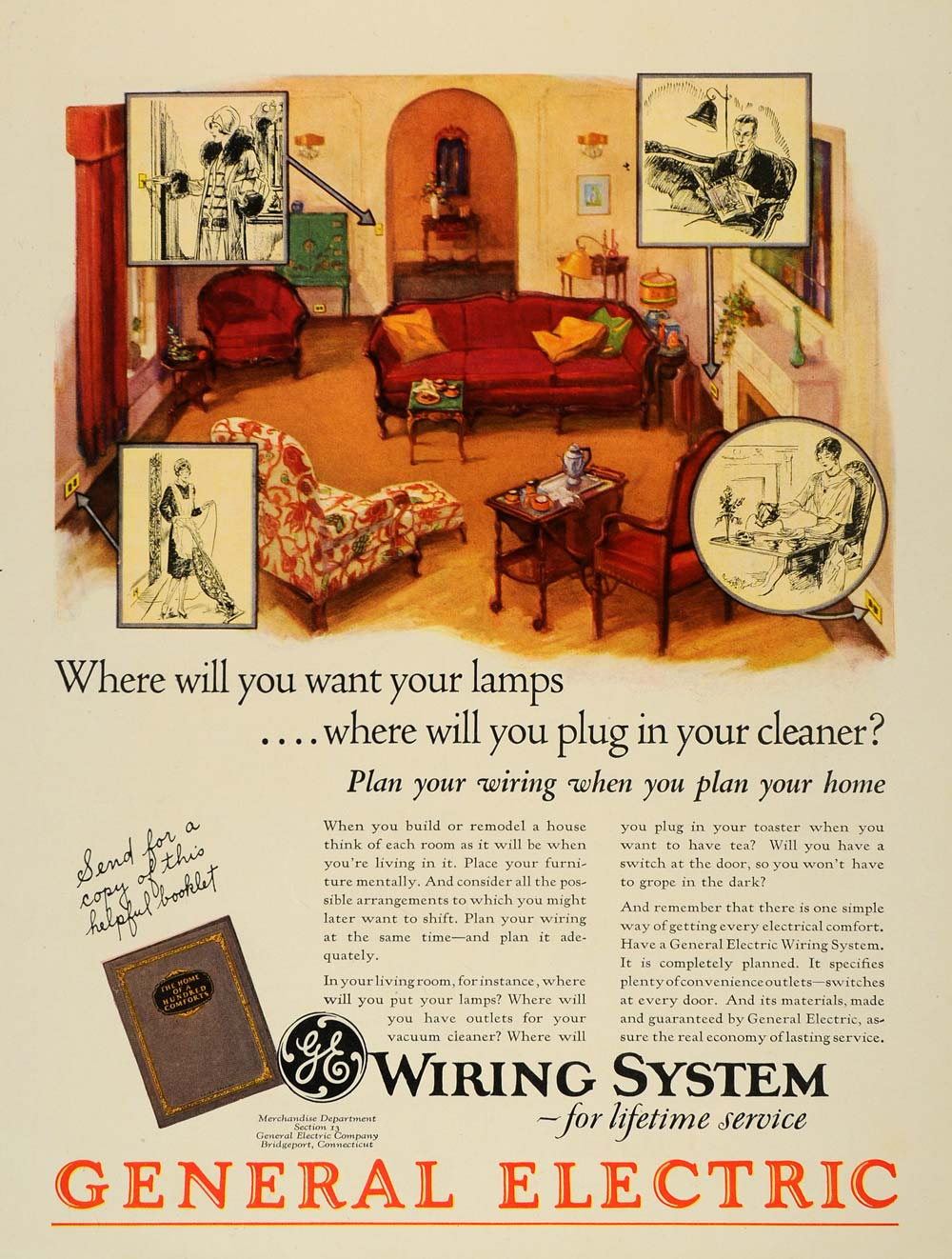 1928 Ad General Electric Wiring System Cables Home Original House Art Advertising Ghb1