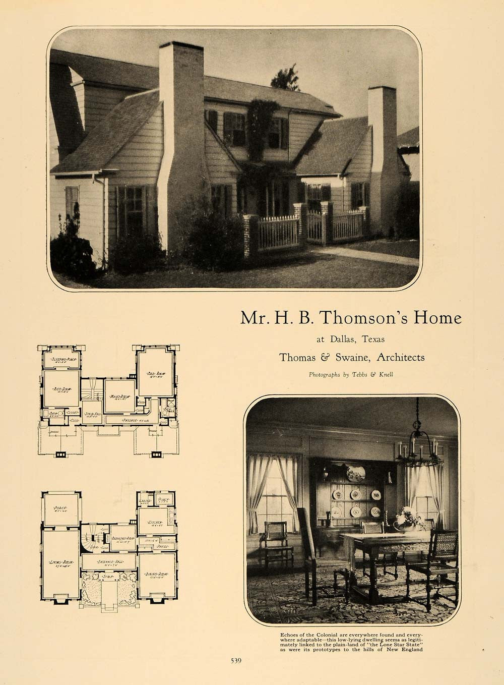1926 Print H.B. Thompson Home Thomas Swaine Architects ORIGINAL HISTORIC GHB1 - Period Paper