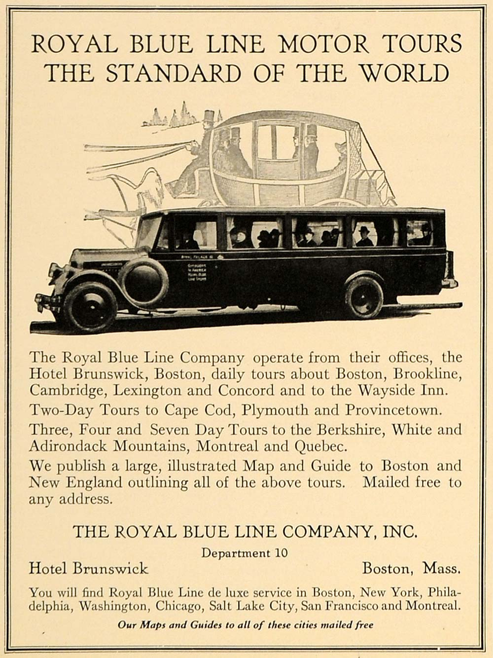 1926 Ad Royal Blue Line Motor Tours Hotel Brunswick - ORIGINAL ADVERTISING GHB1