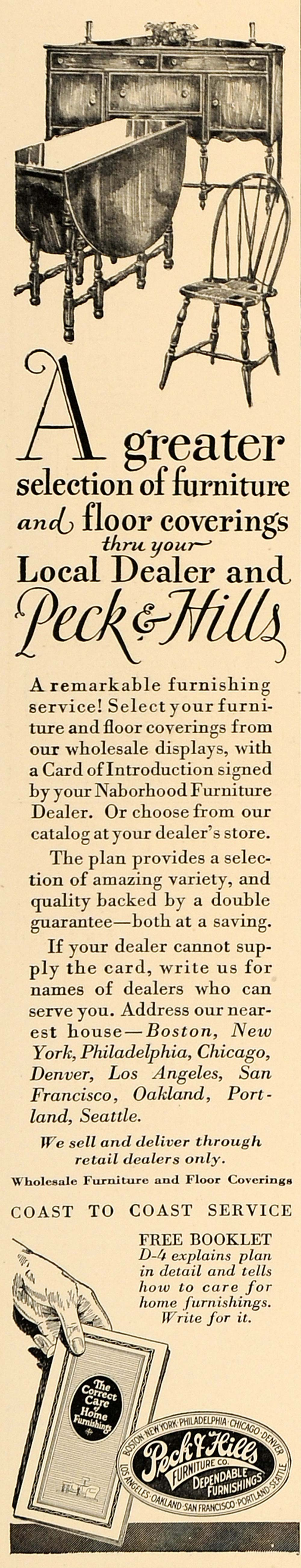 1927 Ad Peck Hills Furniture Folding Table Sideboard - ORIGINAL ADVERTISING GHB1