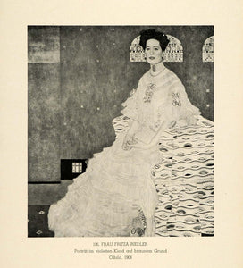 1942 Print Portrait Fritza Riedler Reidl Dress Fashion Gustav Klimt Artwork GK1