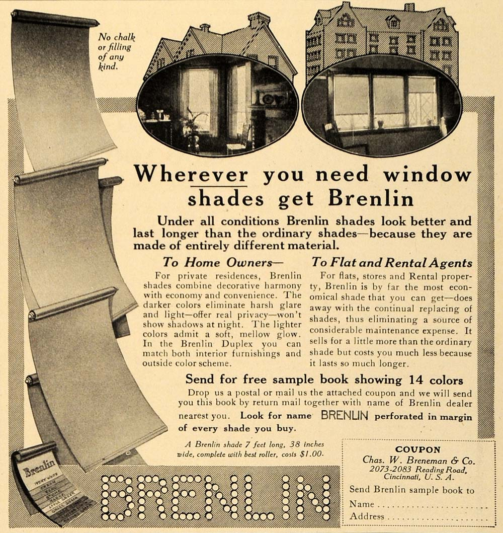 1910 Ad Brenlin Window Shades House Coupon Light Sun - ORIGINAL ADVERTISING GM1