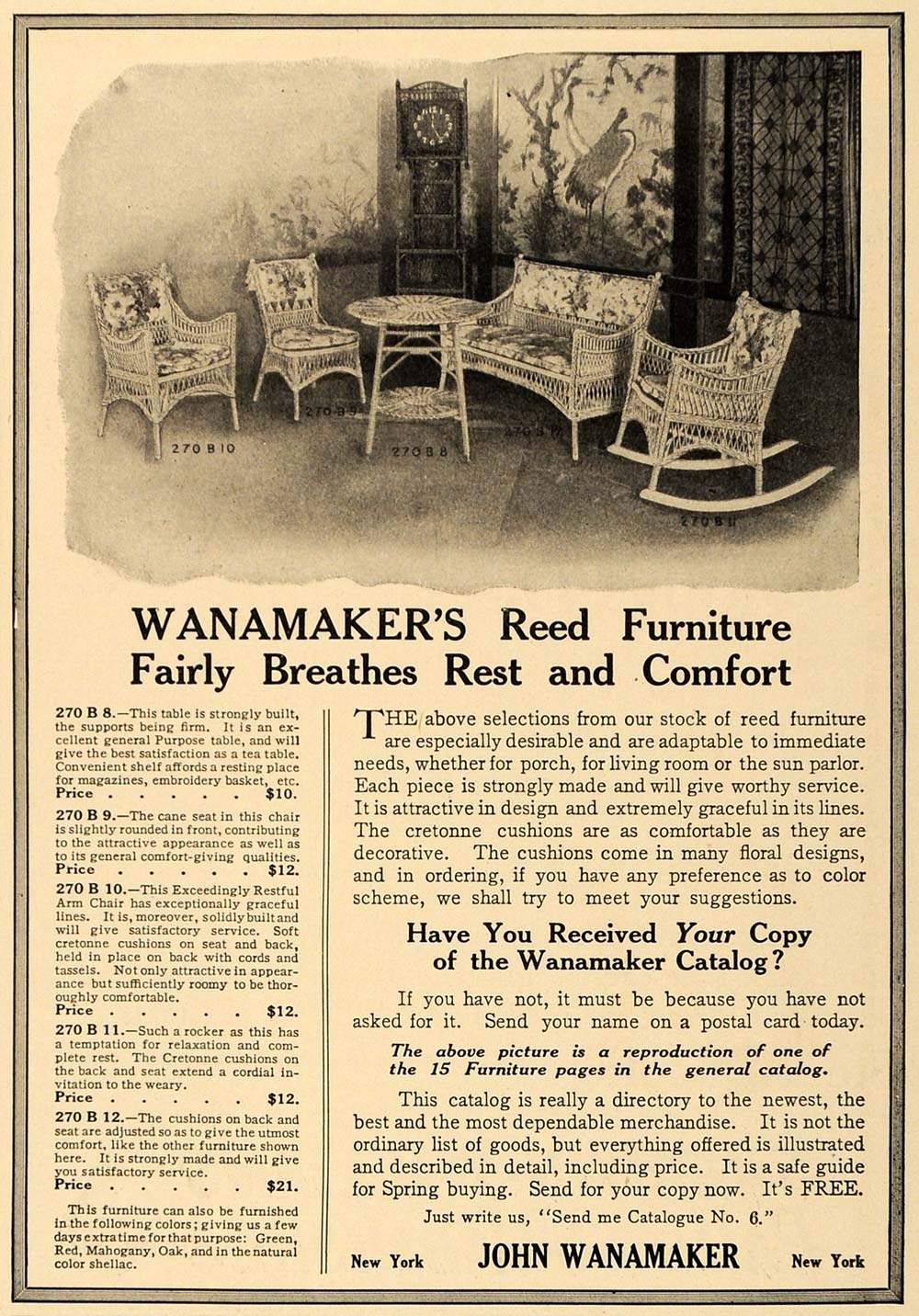Pleasing 1910 Ad Wanamakers Reed Furniture Chairs Couch Tables Original Gm1 Uwap Interior Chair Design Uwaporg