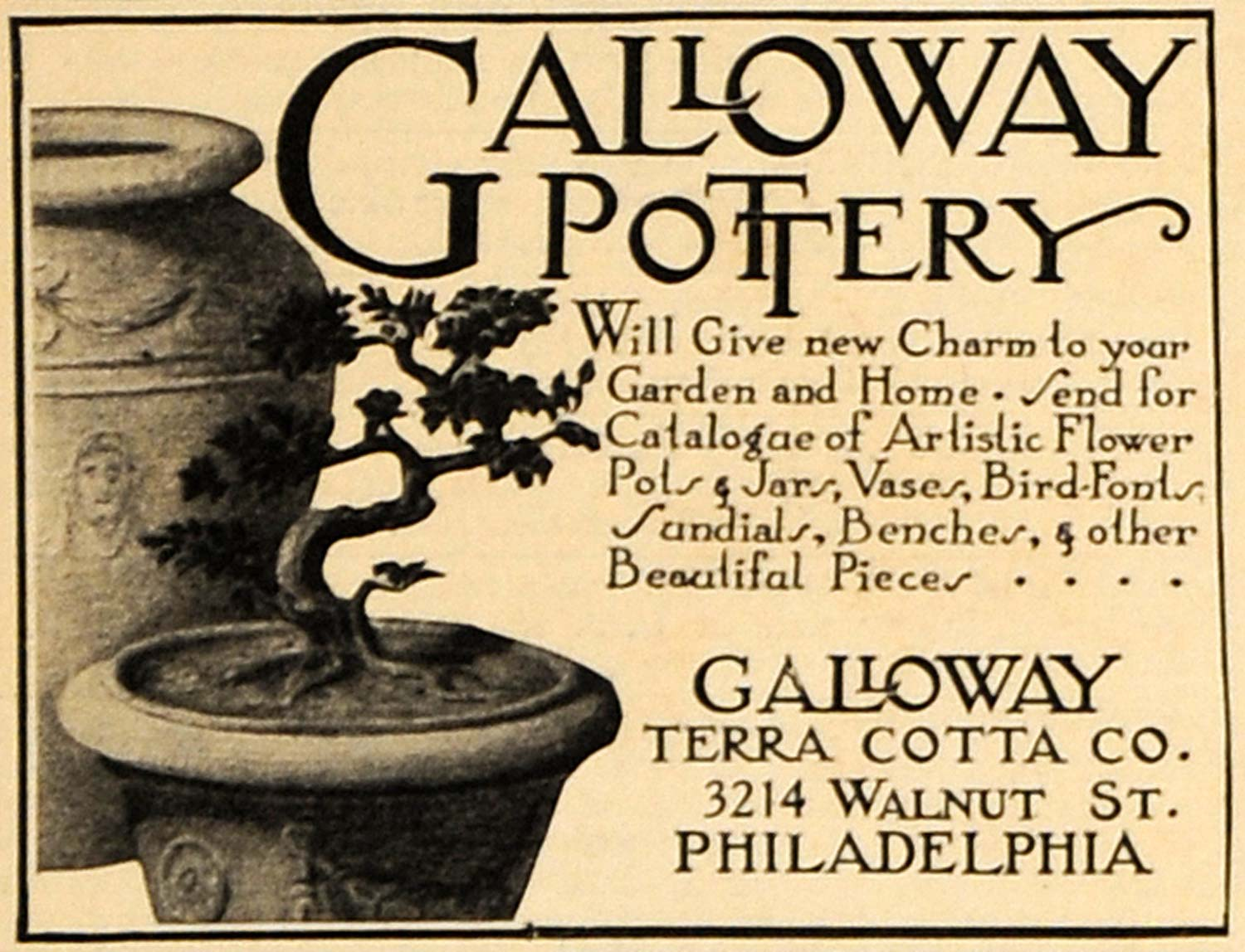 1916 Ad Galloway Terra Cotta Co Pottery Bonsai Tree - ORIGINAL ADVERTISING GM1