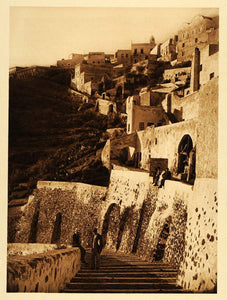 1926 Sunset Santorini Thera Island Hellas Volcano Art - ORIGINAL GRC3 - Period Paper