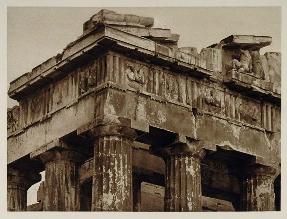 1928 Parthenon Gable Corner Acropolis Athens Greece - ORIGINAL GREECE