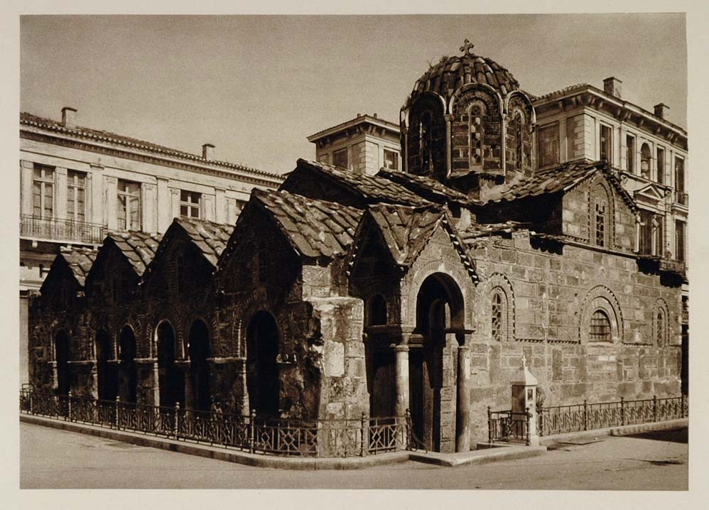 1928 Panagia Megalo Monastiri Church Athens Greece - ORIGINAL GREECE