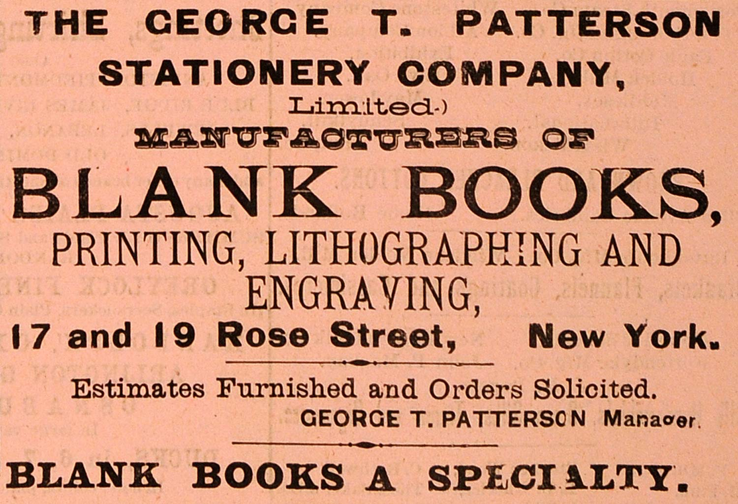1883 Ad George Patterson Stationery Books Printing - ORIGINAL ADVERTISING GROC1