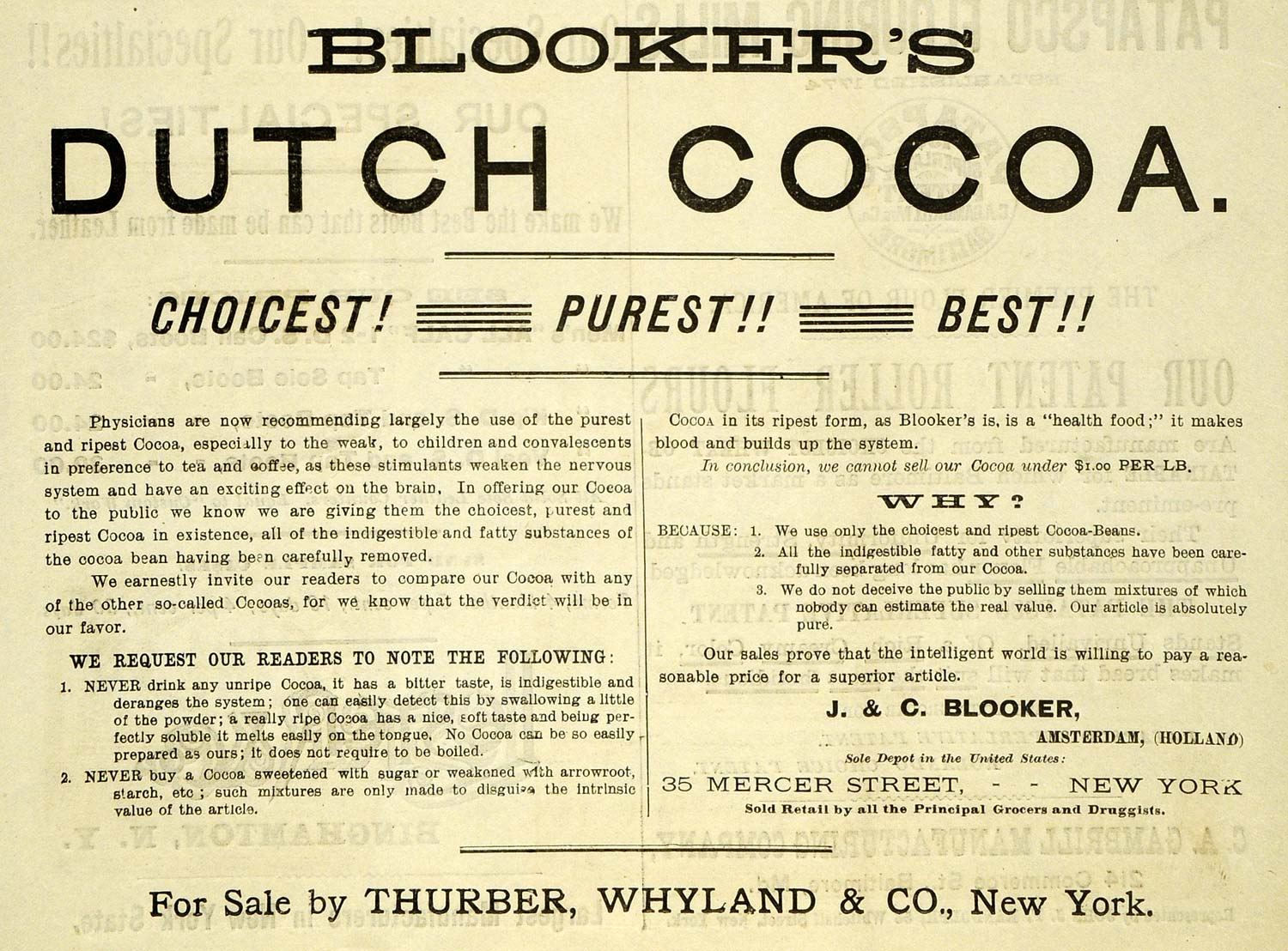 1889 Ad Blooker Dutch Cocoa Thurber Chocolate Baking - ORIGINAL GROC2