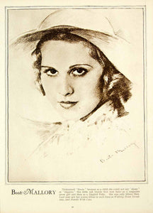 1933 Rotogravure Patricia Boots Mallory Actress Movie Portrait Hollywood GTS1