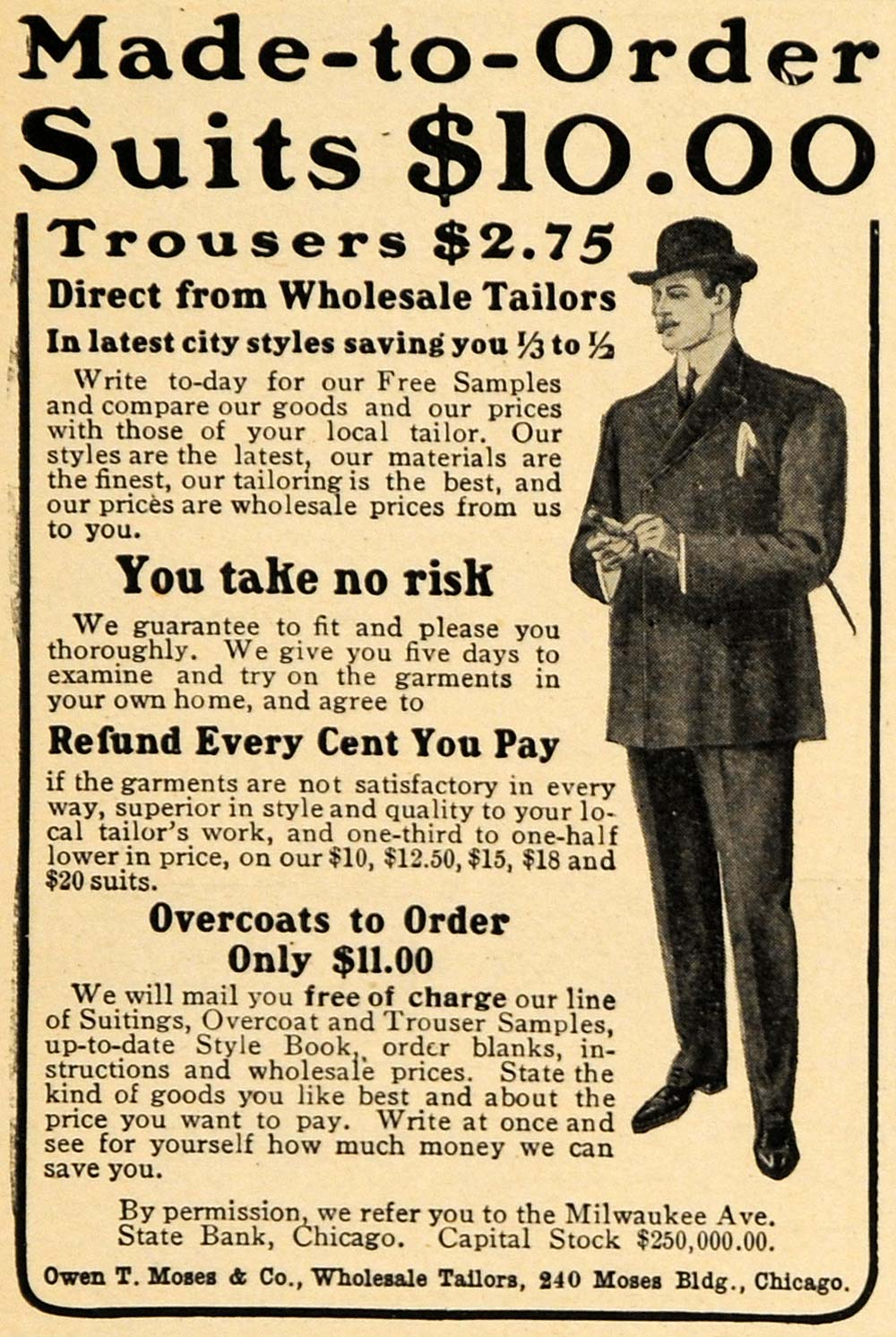 1905 Ad Owen T Moses & Co. Suit Trousers Men Fashion - ORIGINAL ADVERTISING GUN1