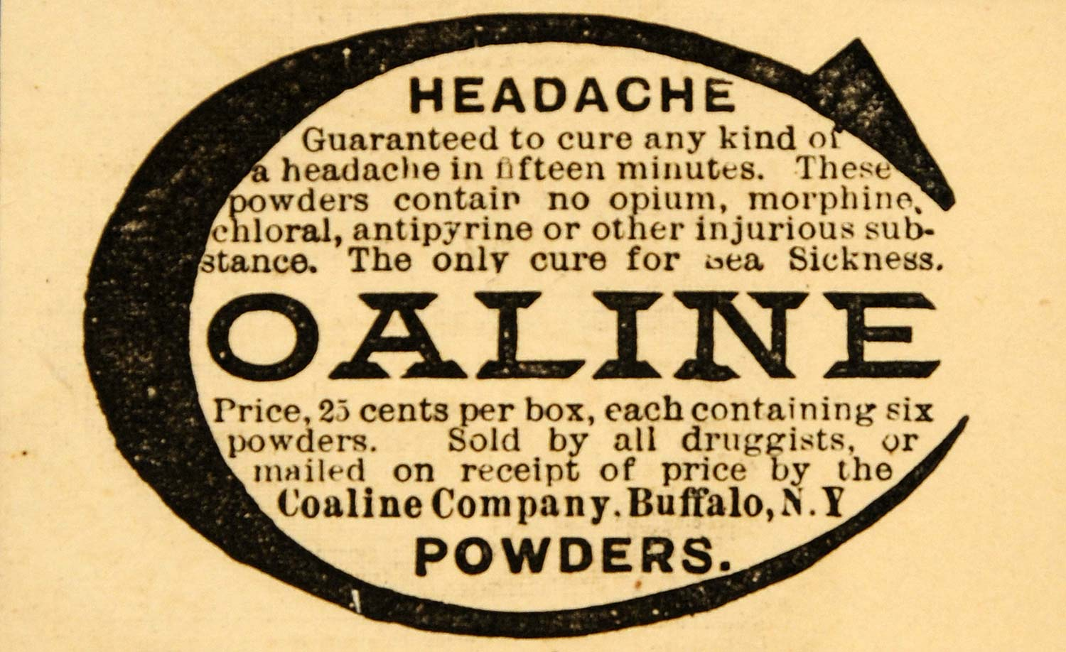 1890 Ad Coaline Powder Headache Seasick No Opium NY - ORIGINAL ADVERTISING HB1