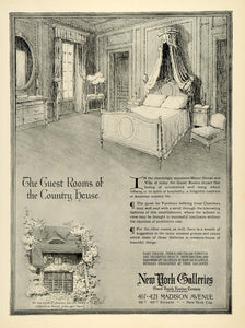 1920 Ad New York Galleries Furniture Guest Room Medieval Country Manor House HB2