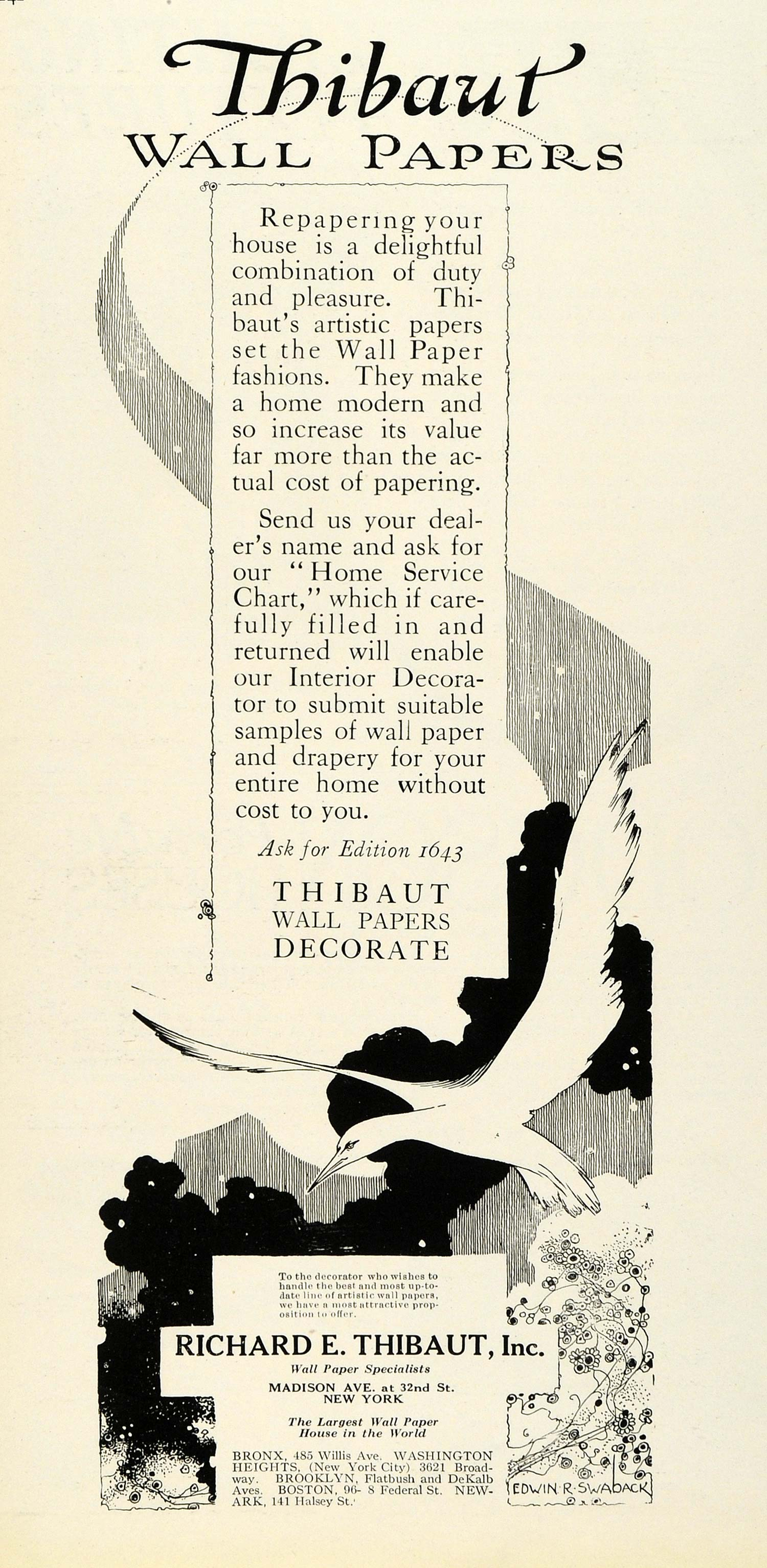 1920 Ad Richard E Thibaut Inc Wall Papers Home Decoration Interior Design HB2