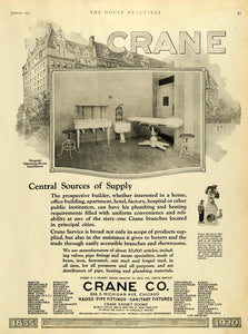 1921 Ad Crane Hospital Operating Room Installation Sanitary Fixture Pipe HB2