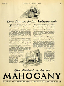 1921 Ad Mahogany Association New York Queen Elizabeth I Fireplace Furniture HB2