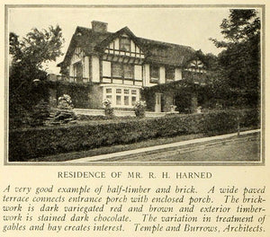 1921 Print R. H. Harned Home Mansion Architecture Temple Burrows Davenport HB2