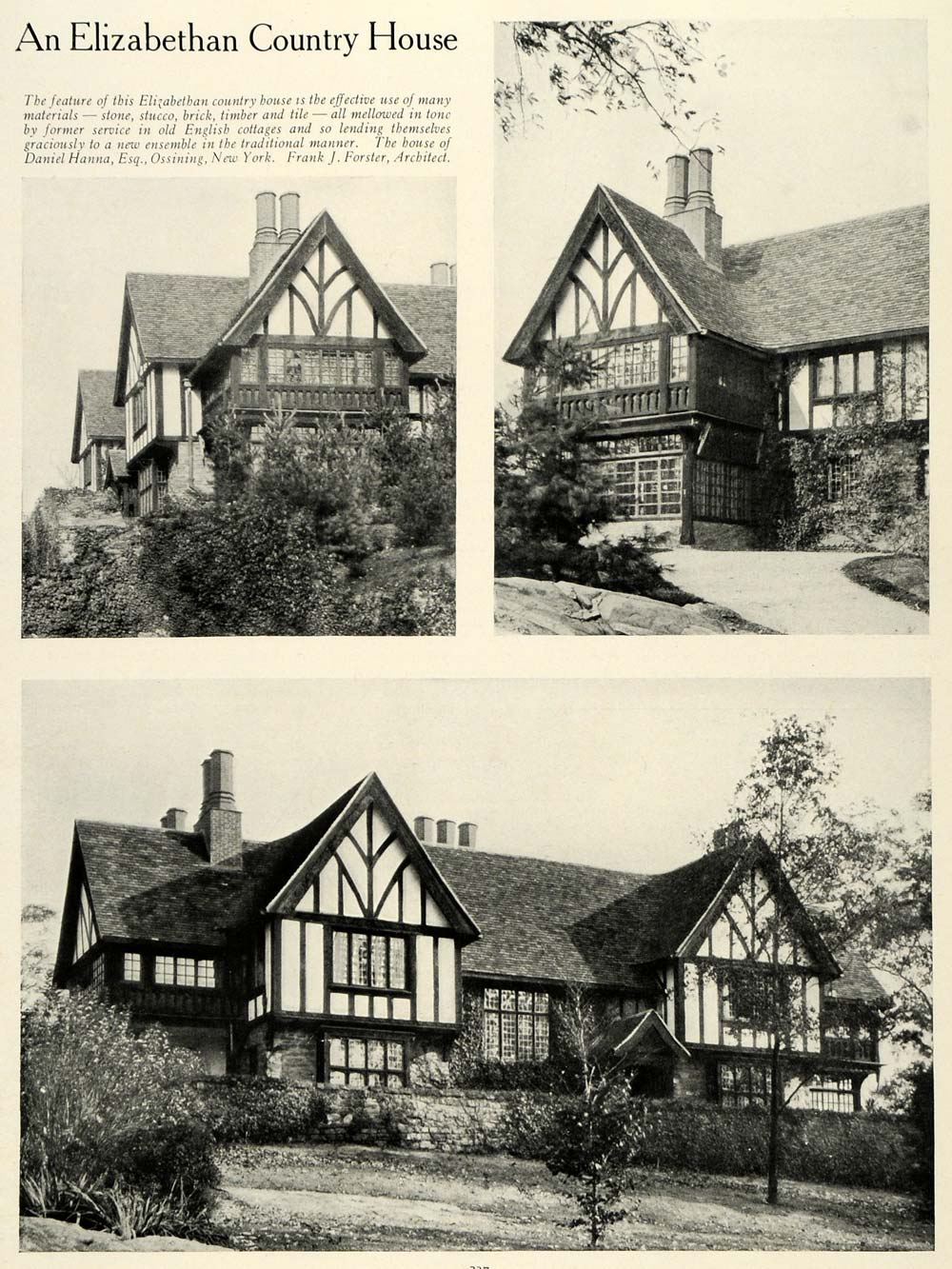 1922 Print Daniel Hanna Elizabethan Country Home Ossining New York HB2