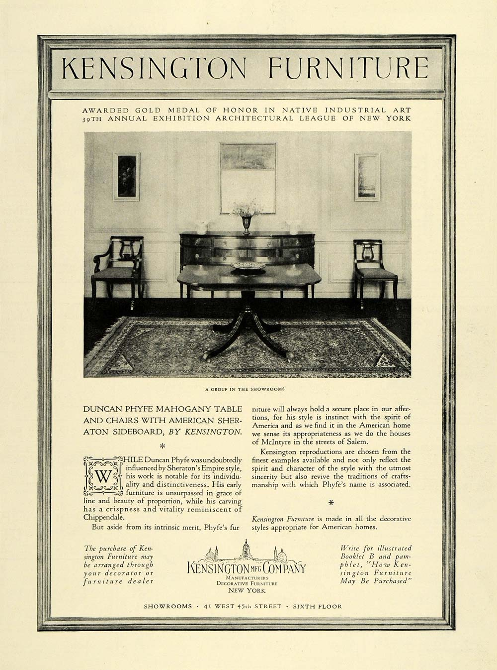 1928 Ad Kensington Manufacturing Co Decorative Furniture Exhibition NY Table HB2