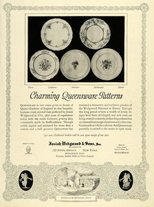 1928 Ad Josiah Wedgwood & Sons Inc Queensware Pottery Queen Charlotte Floral HB2