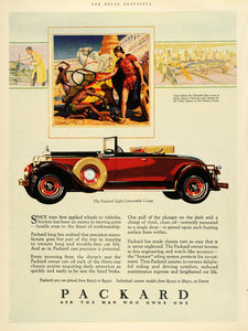 1928 Ad Packard Automobiles Vintage Red Eight Convertible Coupe Roman HB2