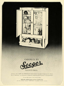 1928 Ad Refrigeration Furniture Porcelain Cabinet Seeger Refrigerator Model HB2
