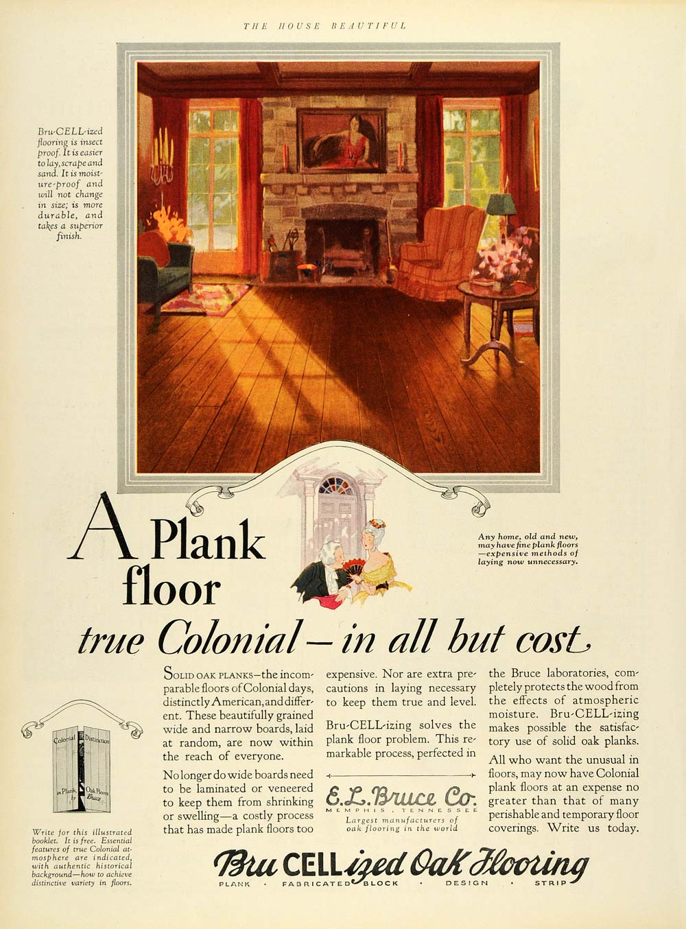 1928 Ad Bru-Cell-Izing Oak Flooring Living Room Colonial Design Floors Home HB2
