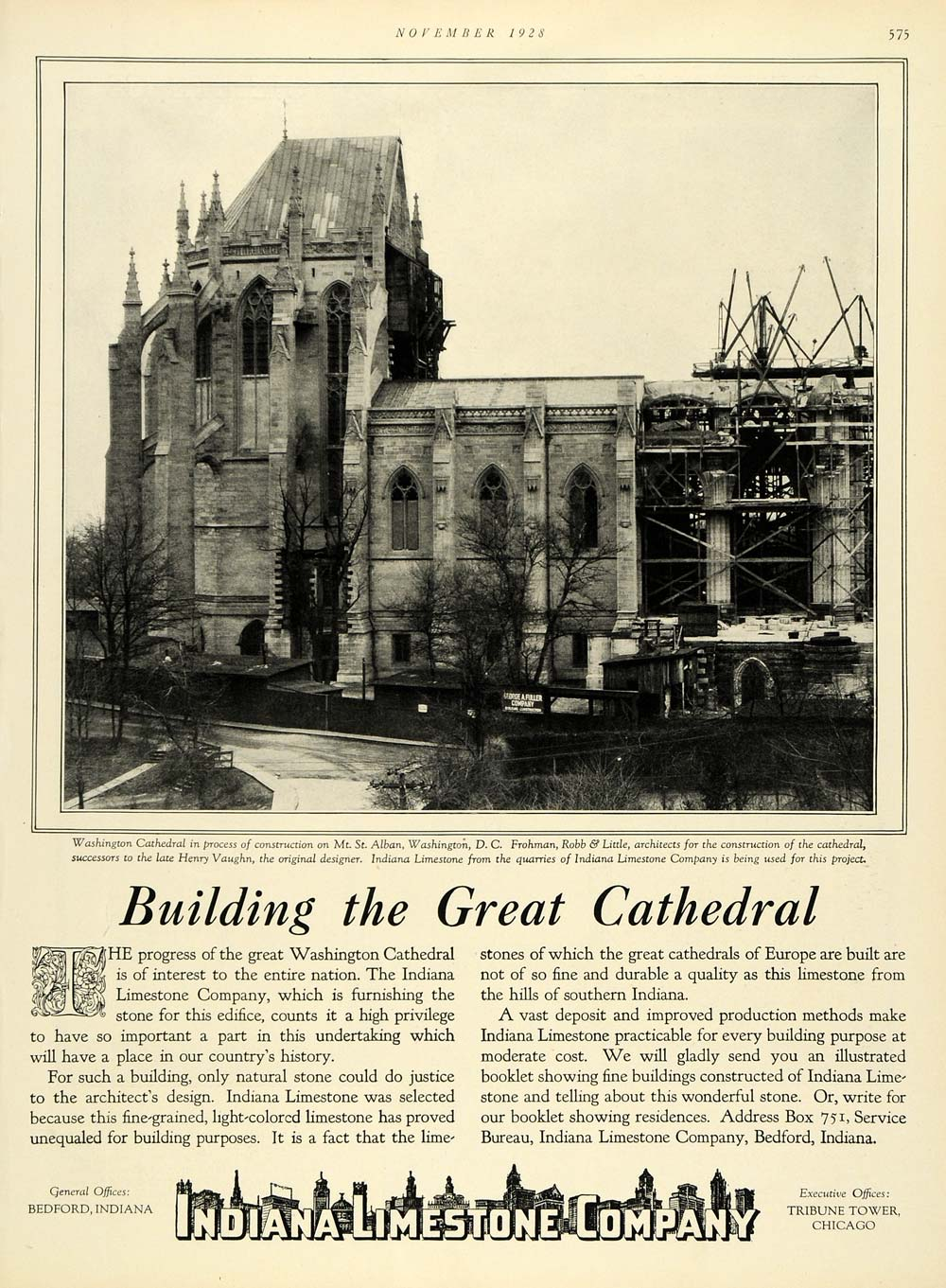 1928 Ad Washington Cathedral Building Indiana Limestone Co Bedford HB2