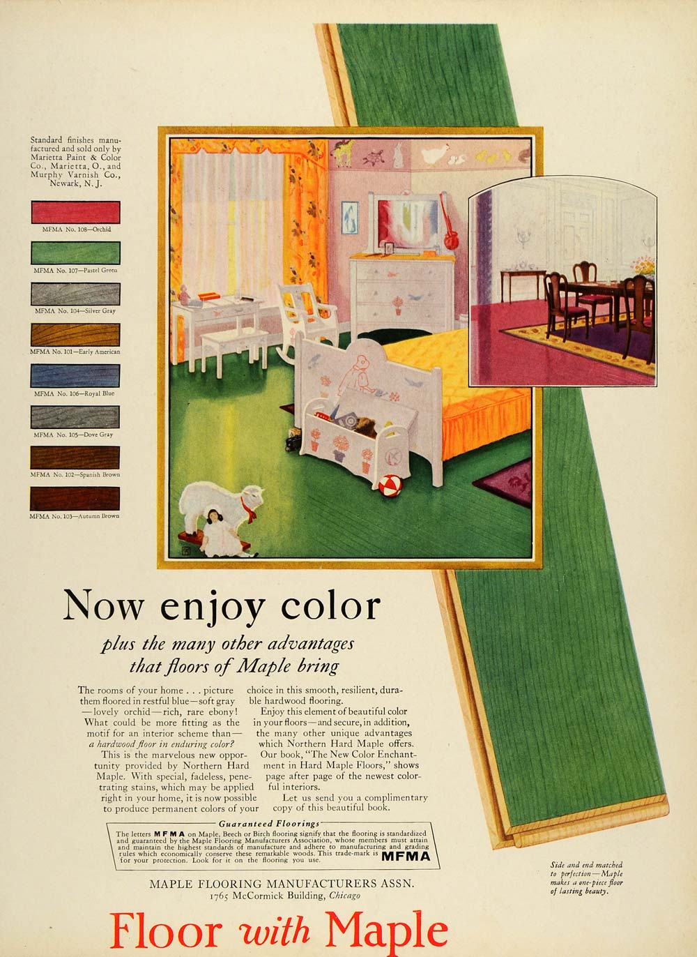 1928 Ad Maple Floor Flooring Association Nursery Baby Room Pastel Green N HB2