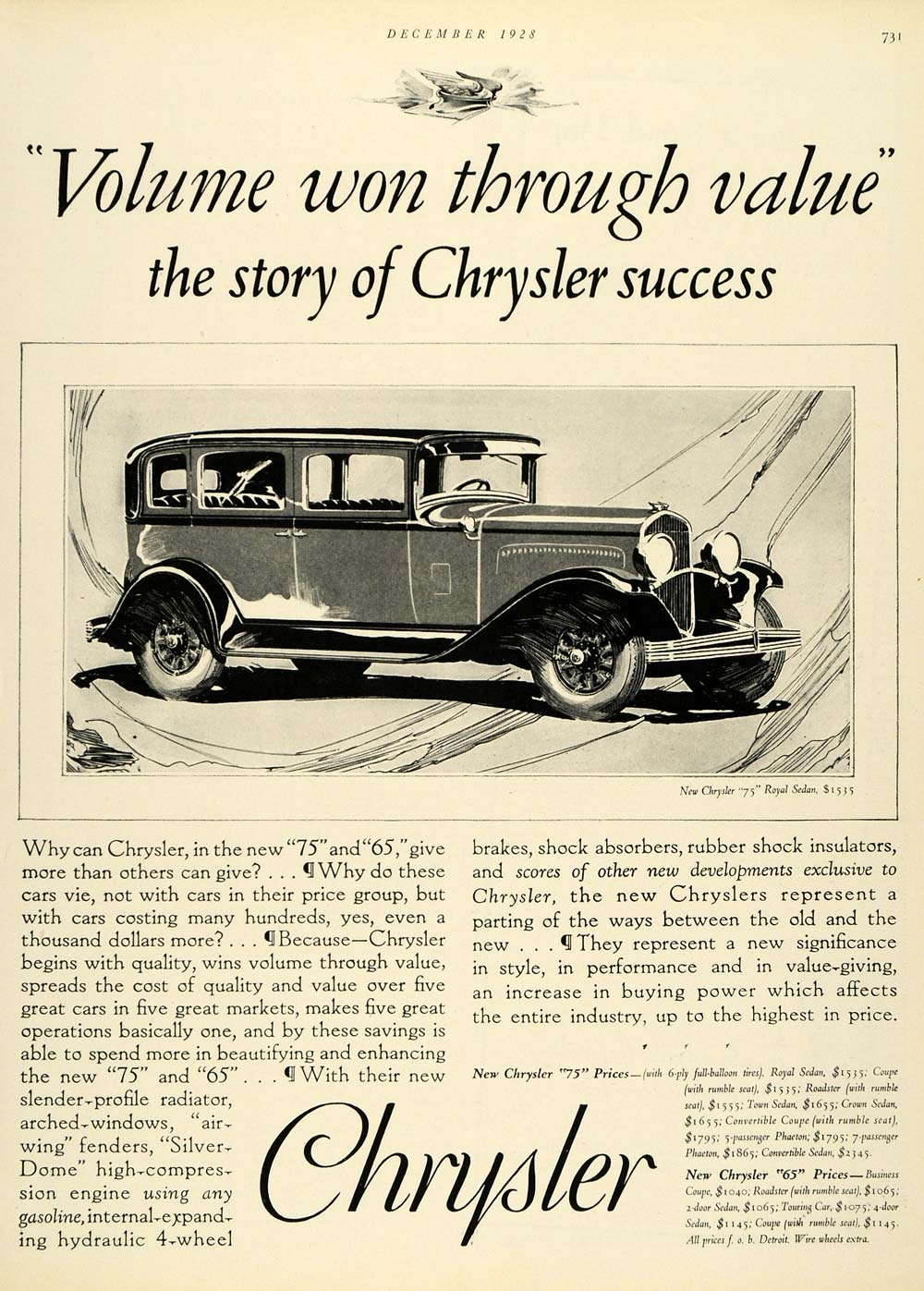 1928 Ad Vintage Car Chrysler Group LLC Automobile 75 Royal Sedan Motor HB2