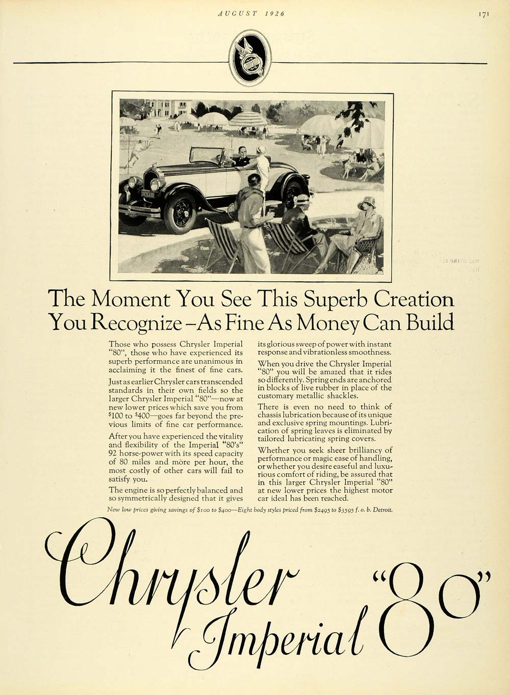 1926 Ad Chrysler Imperial 80 Vintage Tennis Automobile Motor Vehicle Car HB2