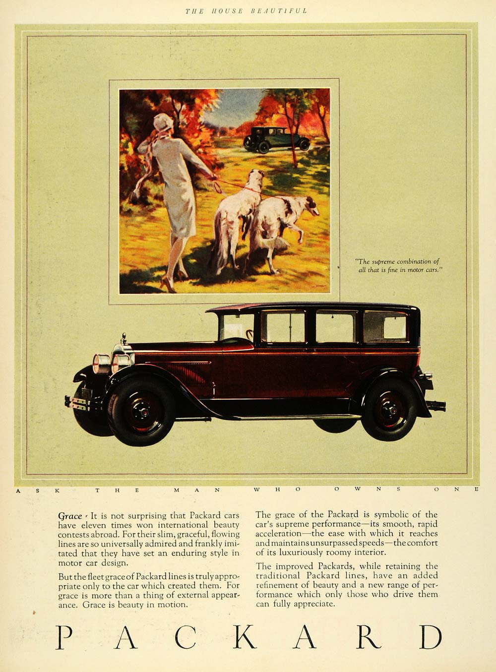 1926 Ad Packard Motor Car Luxury Automobile Borzoi Dogs Russian Wolfhound HB2 - Period Paper