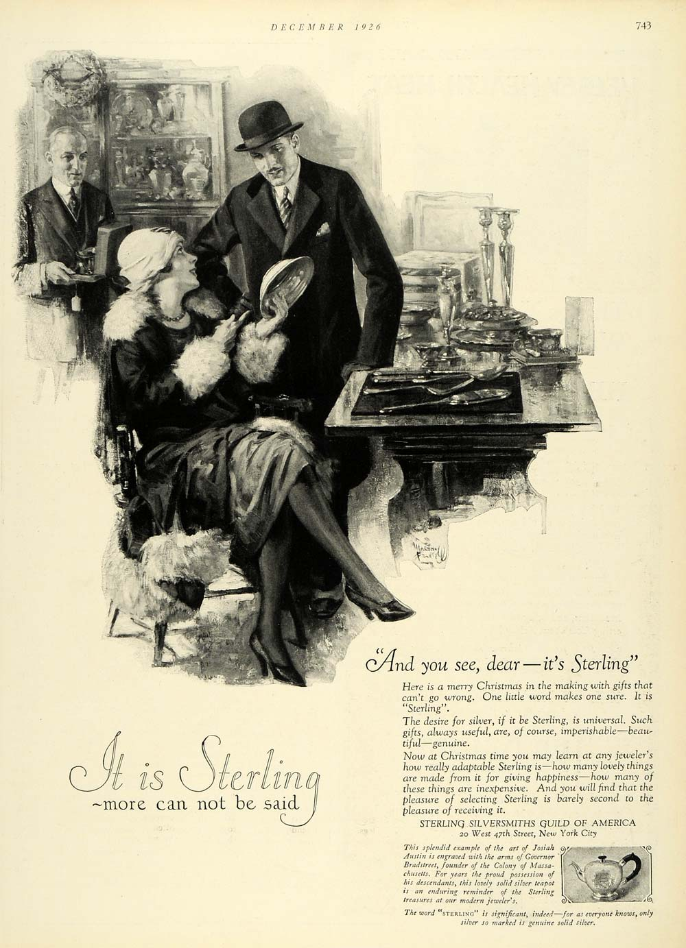 1926 Ad Merry Christmas Holidays Gifts Sterling Silversmith America HB2