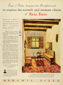 1929 Ad Keramic Tiles Flooring Home Decor Frank Forster New York Breakfast HB2 - Period Paper