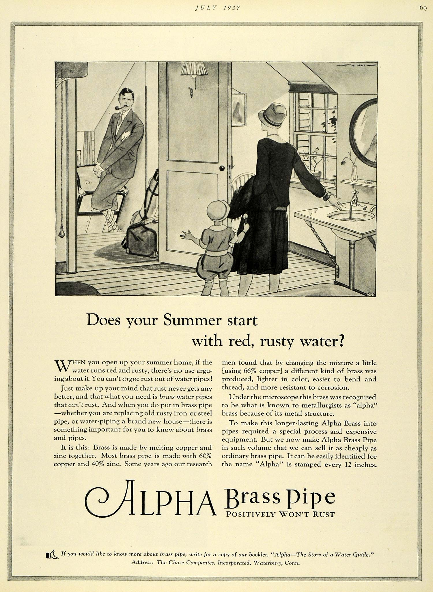 1927 Ad Alpha Brass Pipe Chase Companies Waterbury Connecticut Family HB2