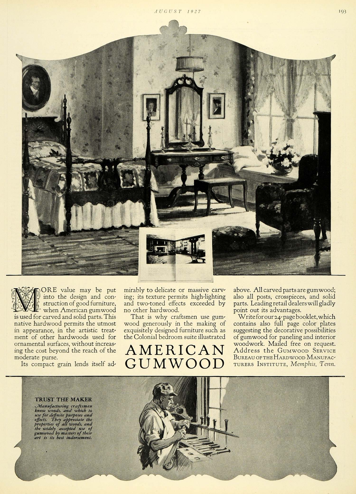 1927 Ad American Gumwood Bedroom Furniture Housing Memphis Tennessee ...