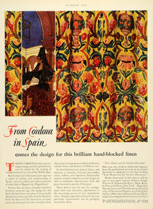 1927 Ad Cordova Spain F Schumacher Pattern Middle Ages Fabric Upholstery HB2