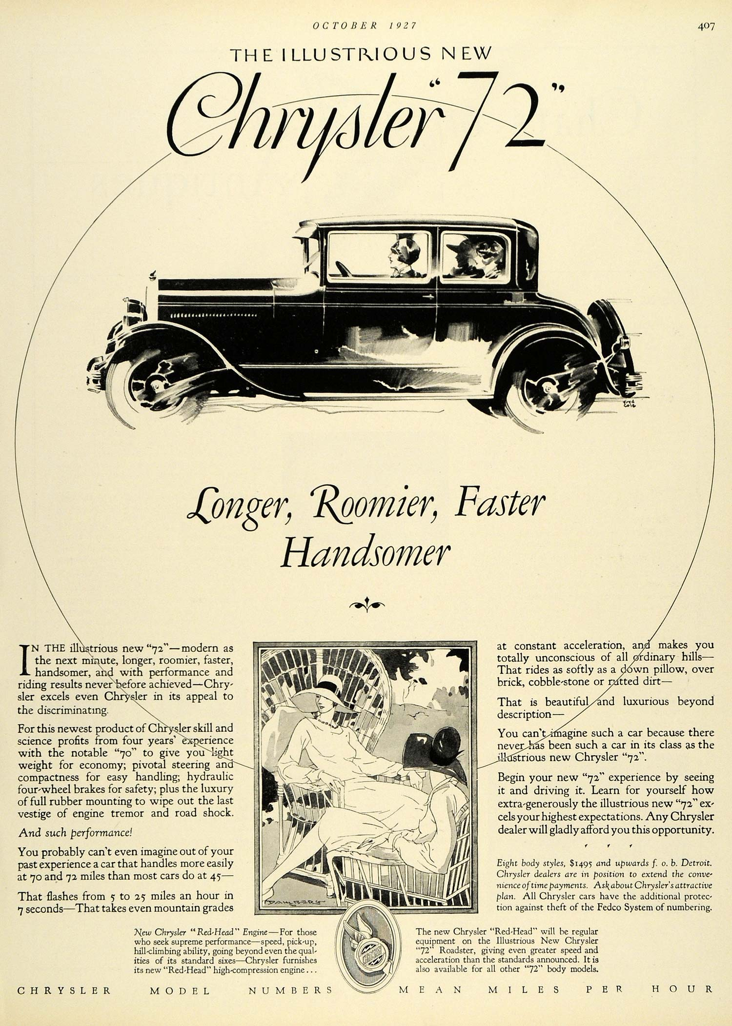 1927 Ad Chrysler 72 Automobile Car Vehicle Dahlberg Motor Detroit Michigan  HB2