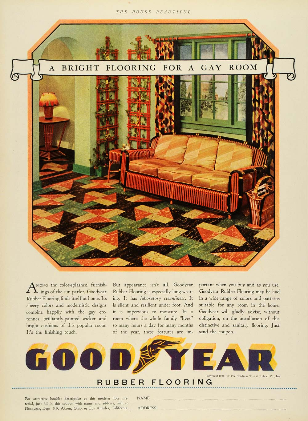 1929 Ad Goodyear Furniture Flooring Rubber Tire Home Decor Improvement House HB2