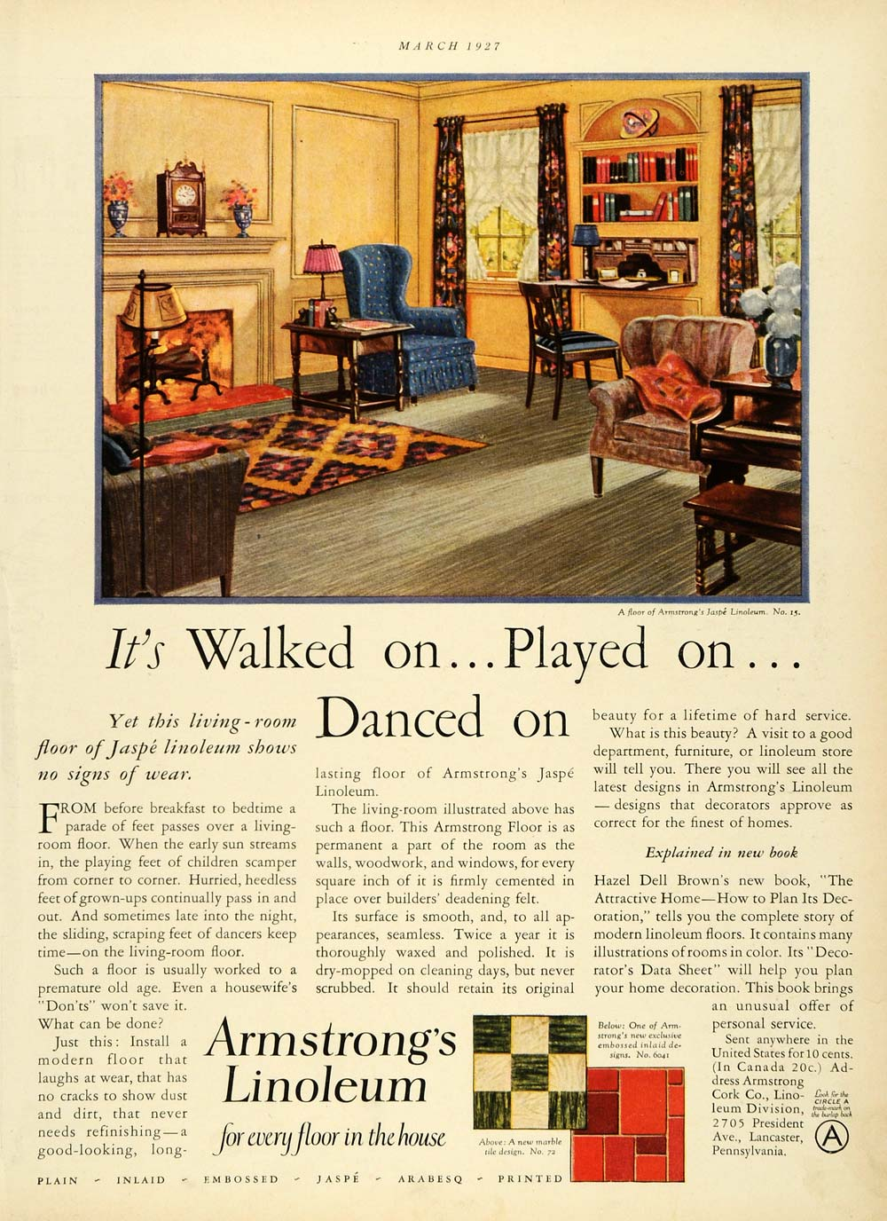 1927 Ad Armstrongs Linoleum Flooring Hazel Dell Brown Cork Furniture Jaspe HB3