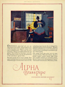 1927 Ad Alpha Brass Pipe Copper Maid Apron Kitchen Waterbury Connecticut HB3
